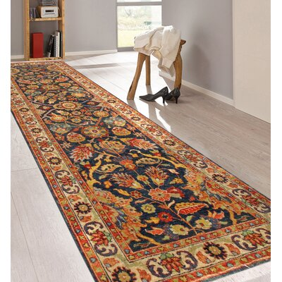 Tabriz Hand-Knotted Wool Navy/Ivory Area Rug