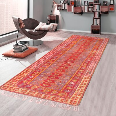 Antique Oushak Hand-Knotted Wool Red Area Rug