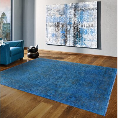 Overdye Hand-Knotted Wool Blue Area Rug