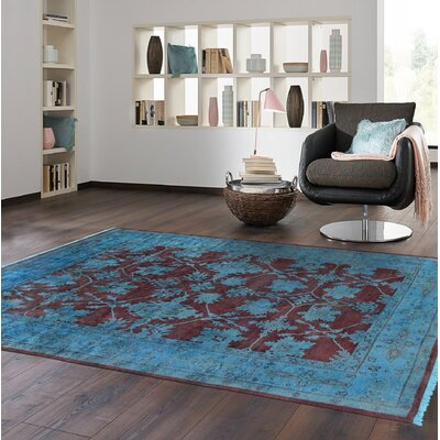 Overdye Hand-Knotted Wool Plum/Blue Area Rug