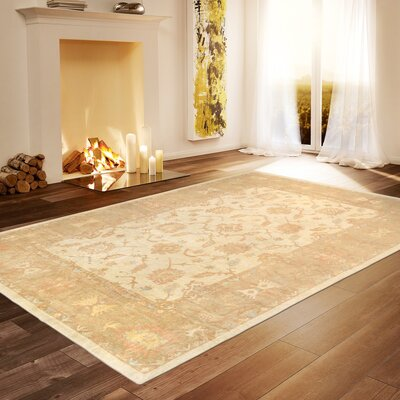 Oushak Hand-Knotted Wool Beige Area Rug