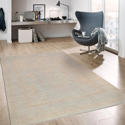 Oushak Hand-Knotted Wool Light Blue Area Rug