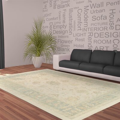 Oushak Hand-Knotted Wool Beige/Light Green Area Rug