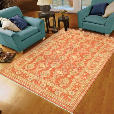 Oushak Hand-Knotted Wool Coral Area Rug