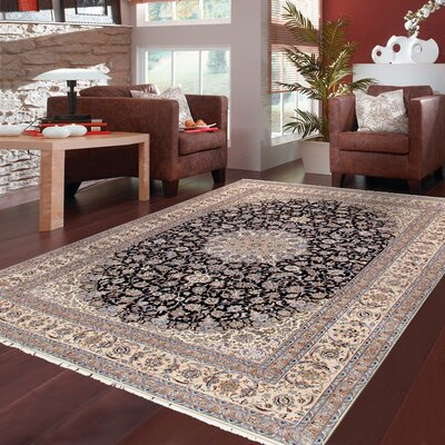 Nain Hand-Knotted Silk and Wool Navy/Beige Area Rug
