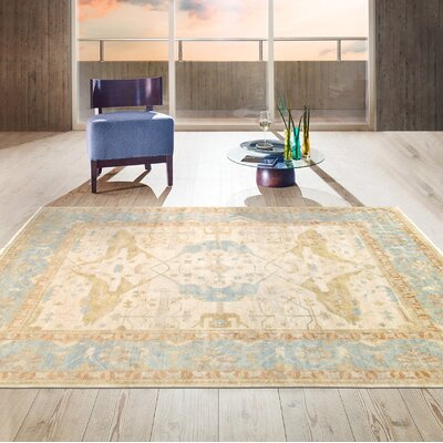 Oushak Hand-Knotted Wool Ivory/Light Blue Area Rug