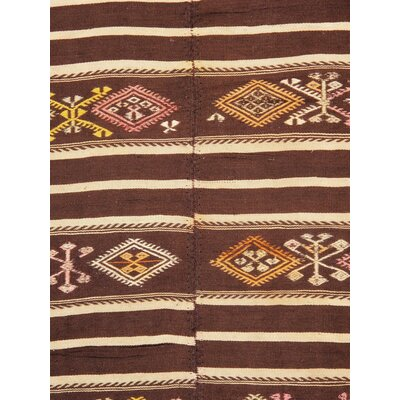 Vintage Kilim Hand-Woven Wool Brown Area Rug