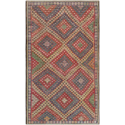 Vintage Kilim Hand-Woven Wool Red Area Rug