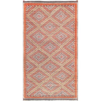 Vintage Kilim Hand-Woven Wool Orange Area Rug