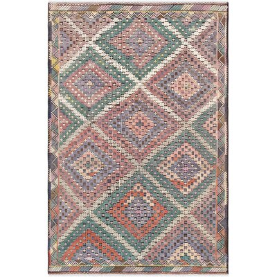 Vintage Kilim Hand-Woven Wool Green/Red Area Rug