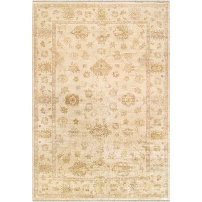 Oushak Hand-Knotted Wool Ivory Area Rug