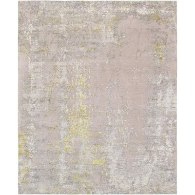 Modern Hand-Knotted Silk/Wool Beige/Gold Area Rug