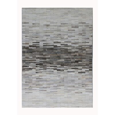 Cowhide and Hand-Loomed Silk Silver Area Rug Rug Size: Rectangle 2 x 3