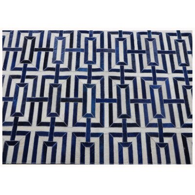Cowhide and Hand-Loomed Silk Silver/Navy Area Rug Rug Size: Rectangle 9 x 12