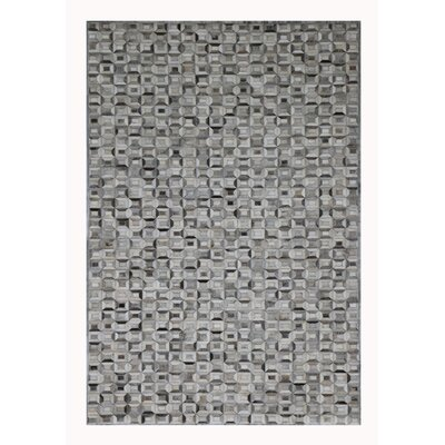 Cowhide and Hand-Loomed Silk Silver Area Rug Rug Size: Rectangle 5 x 8