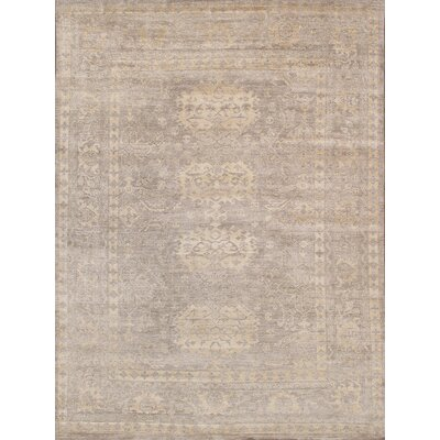 Oushak Hand-Knotted Silk Toupe Area Rug Rug Size: Rectangle 9 x 12