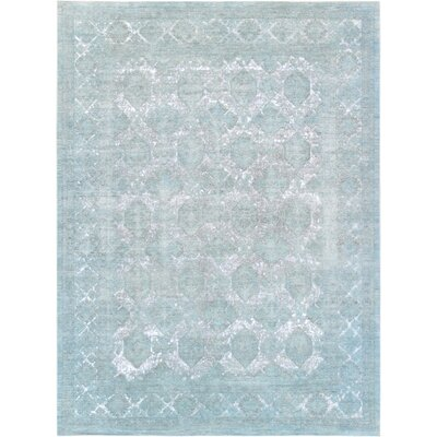 Hand-Knotted Wool Turquoise Area Rug