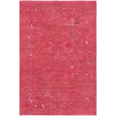 Hand-Knotted Wool Magenta Area Rug