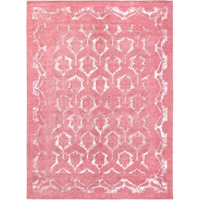 Hand-Knotted Wool Coral Area Rug