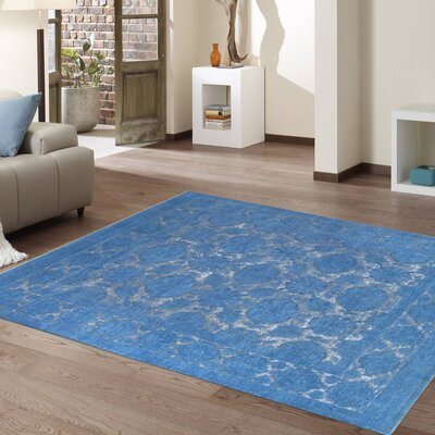 Hand-Knotted Wool Blue Area Rug