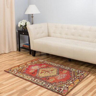 Sivas Hand Woven Wool Coral/Ivory Area Rug