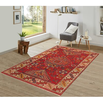 Oushak Hand Woven Wool Red/Beige Area Rug