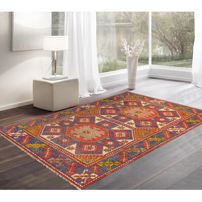 Kazak Hand Woven Wool Red/Blue Area Rug