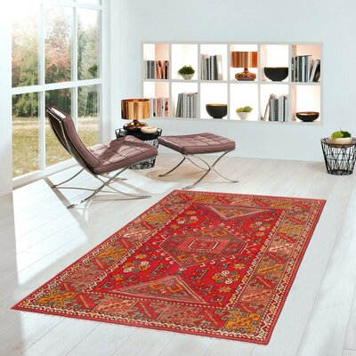 Oushak Hand Woven Wool Red Area Rug