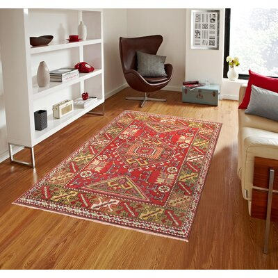 Oushak Hand Woven Wool Red/Green Area Rug