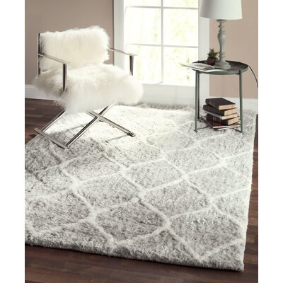 Paris Shag Moroccan Hand Woven Silver Area Rug Rug Size: Rectangle 9 x 12