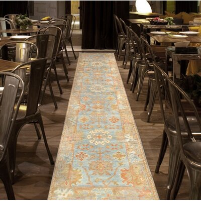 Oushak Hand-Knotted Wool Light Blue/Gold Area Rug