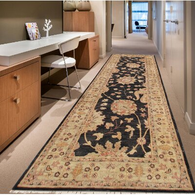 Ferehan Hand-Knotted Wool Black/Beige Area Rug