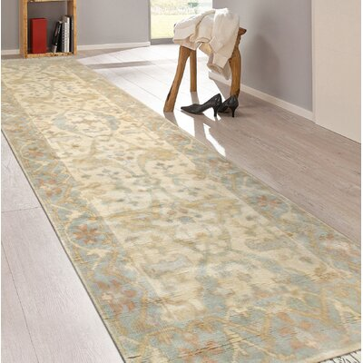 Oushak Hand-Knotted Wool Beige/Light Blue Area Rug
