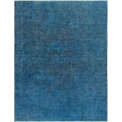 One-of-a-Kind Vintage Overdyes Hand-Knotted Wool Blue Area Rug