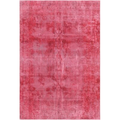 One-of-a-Kind Vintage Overdyes Hand-Knotted Wool Red Area Rug