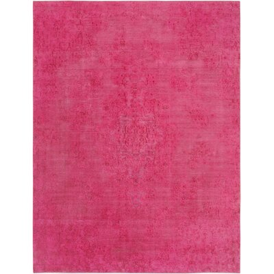 One-of-a-Kind Vintage Overdyes Hand-Knotted Wool Pink Area Rug