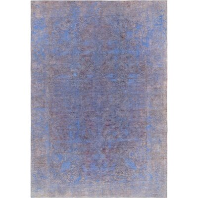 One-of-a-Kind Vintage Overdyes Hand-Knotted Wool Blue/Beige Area Rug