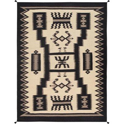Kilim Hand-Woven Wool Black/Beige Area Rug