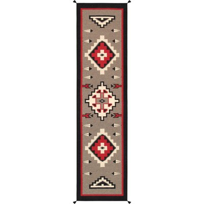 Kilim Hand-Woven Wool Brown Area Rug Rug Size: Runner 31 x 111