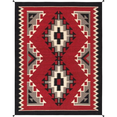 Kilim Hand-Woven Wool Red Area Rug Rug Size: Rectangle 9 2 x 12