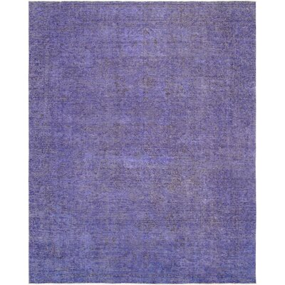 One-of-a-Kind Vintage Overdyes Hand Knotted Wool Purple Area Rug