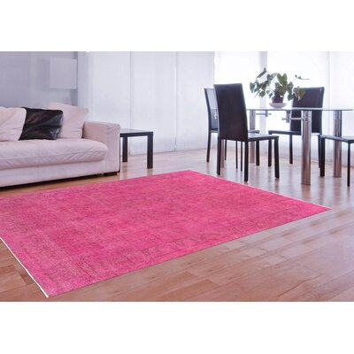 One-of-a-Kind Vintage Overdyes Hand Knotted Wool Pink Area Rug