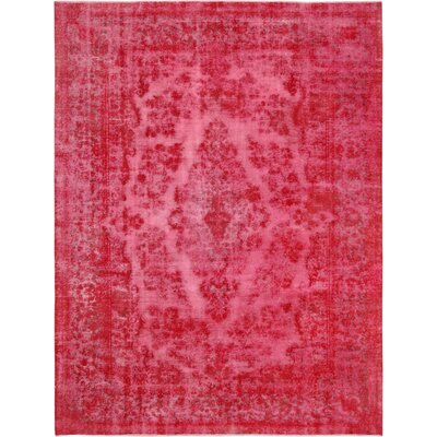 One-of-a-Kind Vintage Overdyes Hand Knotted Wool Magenta Area Rug