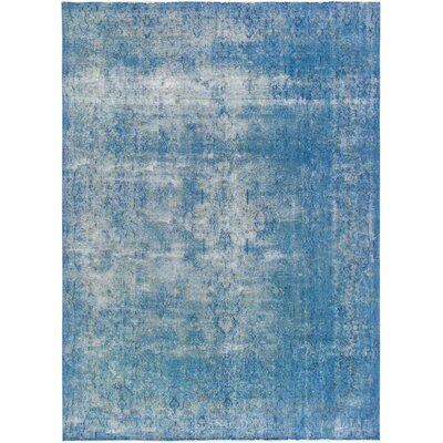 One-of-a-Kind Vintage Overdyes Hand Knotted Wool Blue Area Rug