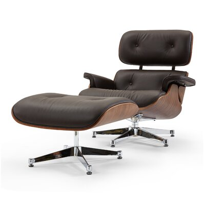 Leather Lounge Chair and Ottoman Upholstery: Brown