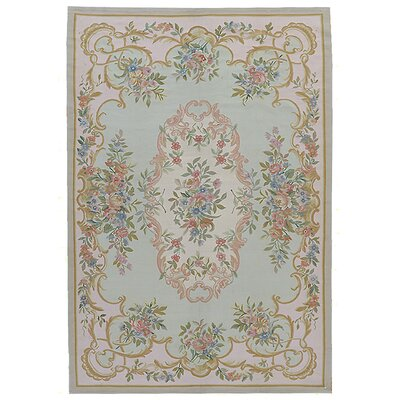 Aubusson Hand-Woven Wool Gray/Pink Area Rug