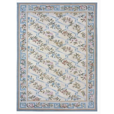 Aubusson Hand-Woven Wool Beige/Blue Area Rug Rug Size: Rectangle 9'9