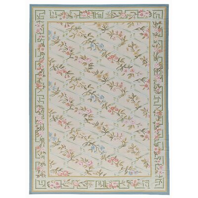 Aubusson Hand-Woven Wool Beige/Blue/Gray Area Rug