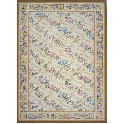 Aubusson Hand-Woven Wool Beige/Brown Area Rug Rug Size: Rectangle 11' x 16'