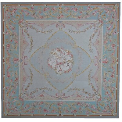 Aubusson Hand-Woven Wool Blue/Brown Area Rug Rug Size: Square 108 x 108